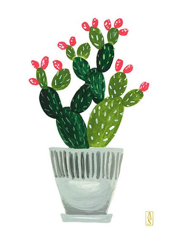 Photo of Potted Plant No. 2, Plant Illustration, Prickly Pear Print, Cactus Print, 5 x 7 Print