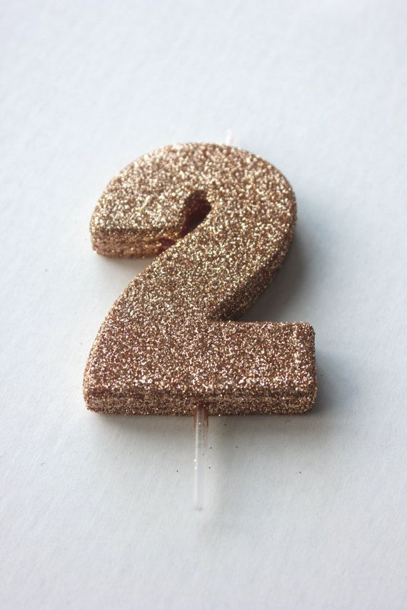 New GLITTER ROSE GOLD Candle Number Birthday Cake Candles