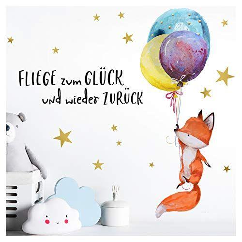 Little Deco Wandtattoo Fuchs & Spruch Fliege zum Glück I A4-21 x 29,7 cm I Luftballons Wandbilder Kinderzimmer Deko Babyzimmer Junge Wandsticker Kinder DL163 - Dekoideen online finden