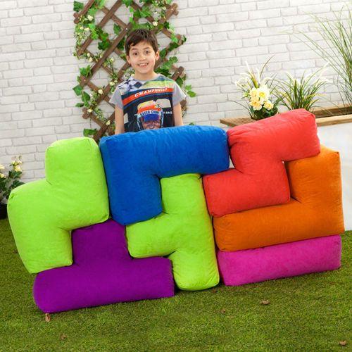 Tetris Shapes Bean Bags Soft Plush Outdoor Water Resistant Garden Furniture Seat