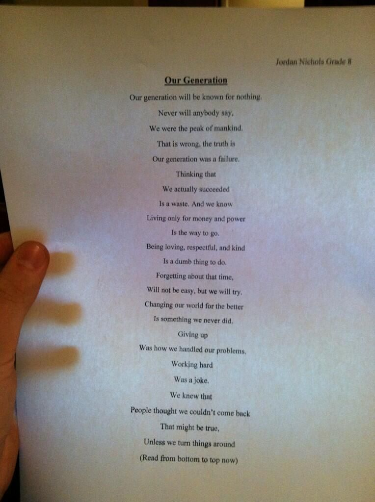 14 Year Old Wrote The Most Significant Poem Of The 21st Century