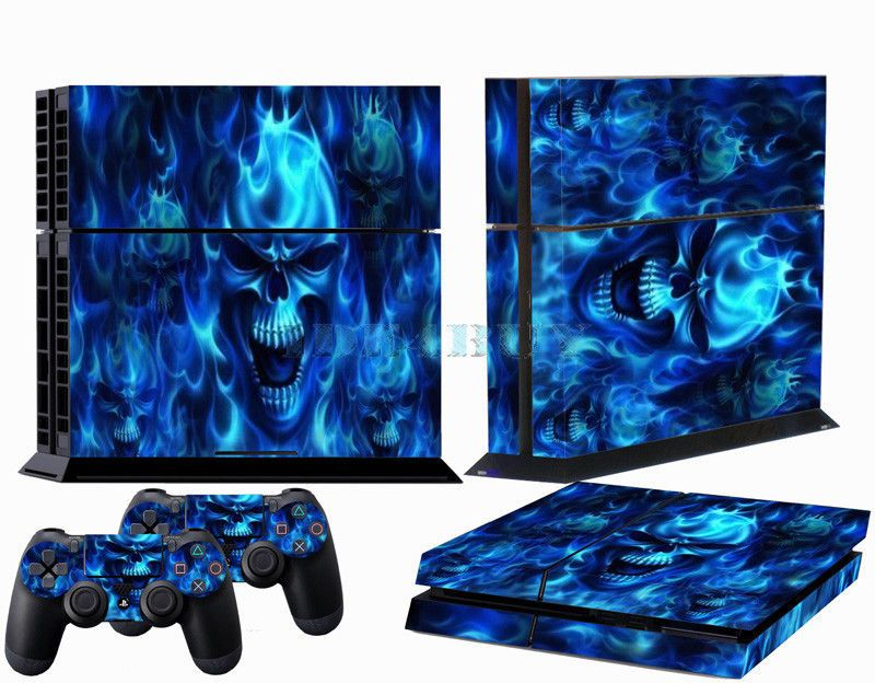 Blue Skull Fire Decal Dark Skin Sticker for Playstation 4 PS4 2 Controller Cover