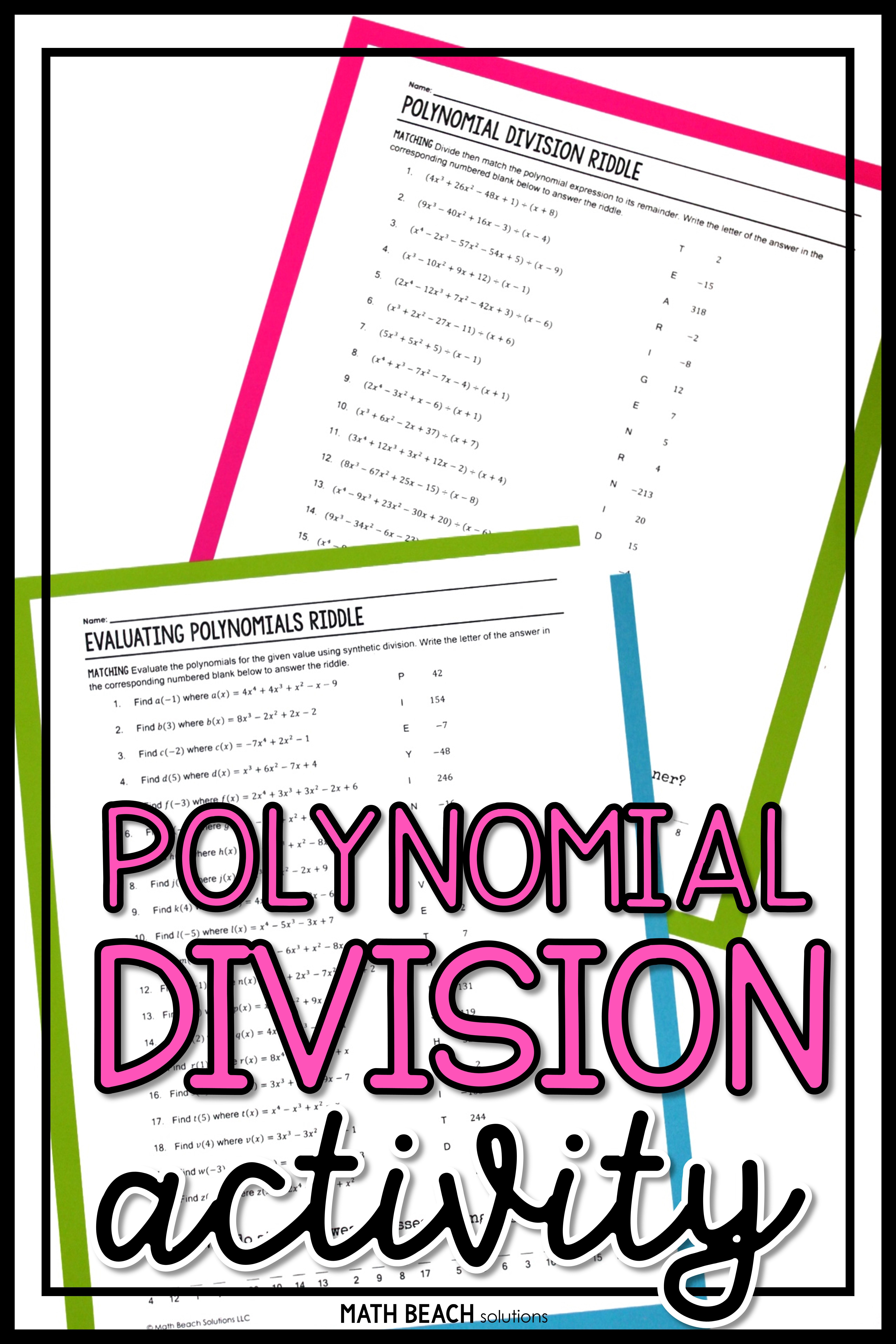 Polynomial Division Riddle Activity Algebra Worksheets Polynomials Simplifying Algebraic Expressions