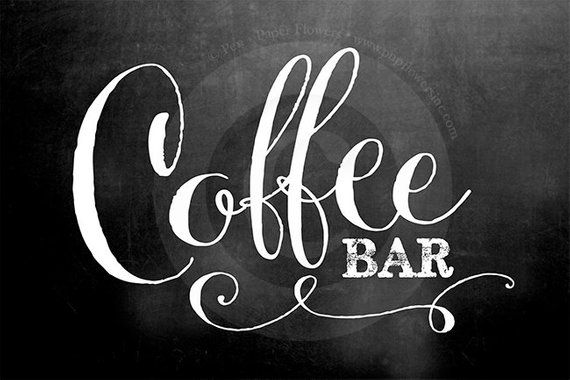 Coffee Bar Sign (2 sizes) and Labels SET (2 styles) ---> INSTANT DOWNLOADS
