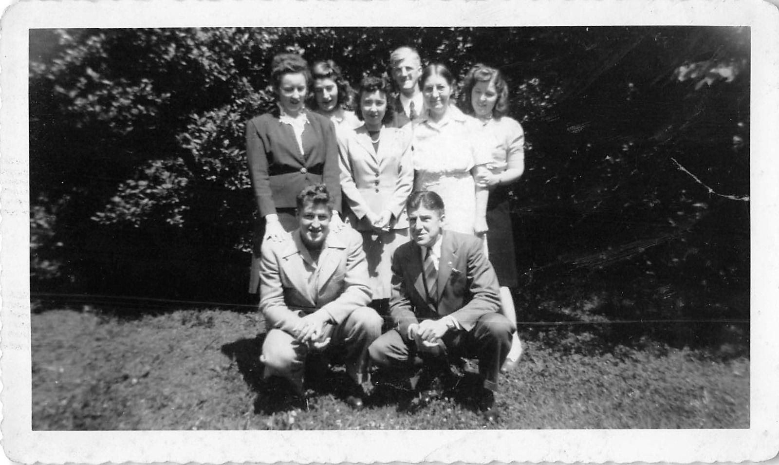 Photograph Snapshot Vintage Black And White Family Suit Dress Yard