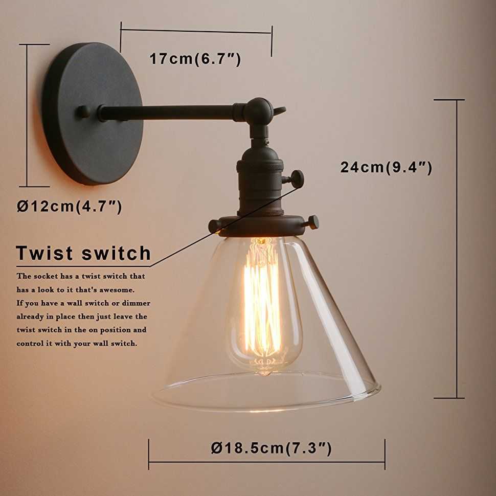 Loft Vintage Wall Light Dia 7 3 Wall Lamp With Funnel Clear Glass Shade Design Vintage Industrial Home W With Images Industrial Wall Sconce Sconces Wall Sconces