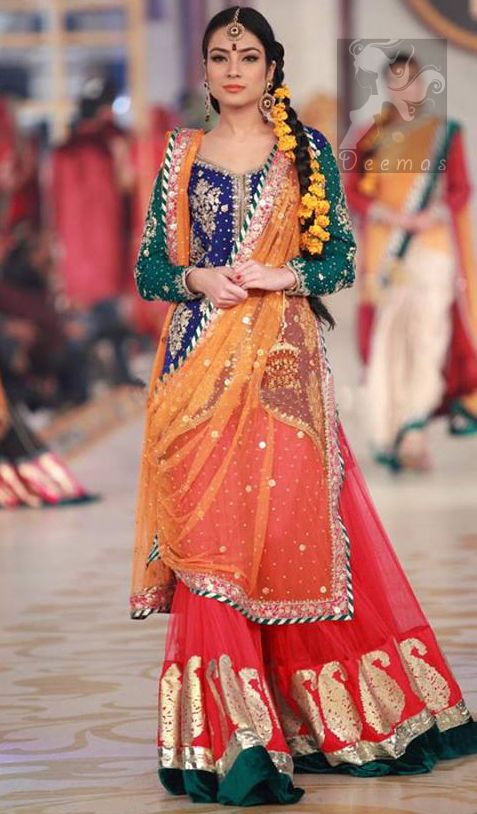 0280e478ff Mehndi Dresses 2017 - Royal Blue - Deep Orange - Red Lehenga in 2019 |  Monica | Mehndi dresses 2017, Dresses, Bridal mehndi dresses