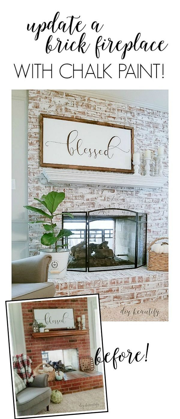 Using chalk paint to update a brick fireplace fireplace makeover