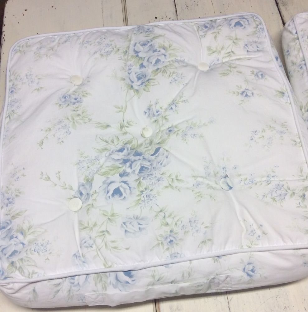 Simply Shabby Chic Chair Cushions 2 British Blue Rose Square 16 X 17 RARE |  EBay