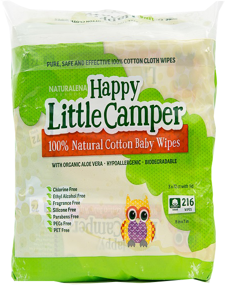 Happy Little Camper Baby Wipes Natural All-Cotton with Organic Aloe 216 Ct