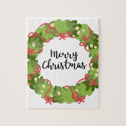 MERRY CHRISTMAS WREATH Cute Jigsaw Puzzle - merry christmas diy xmas present gift idea family holidays