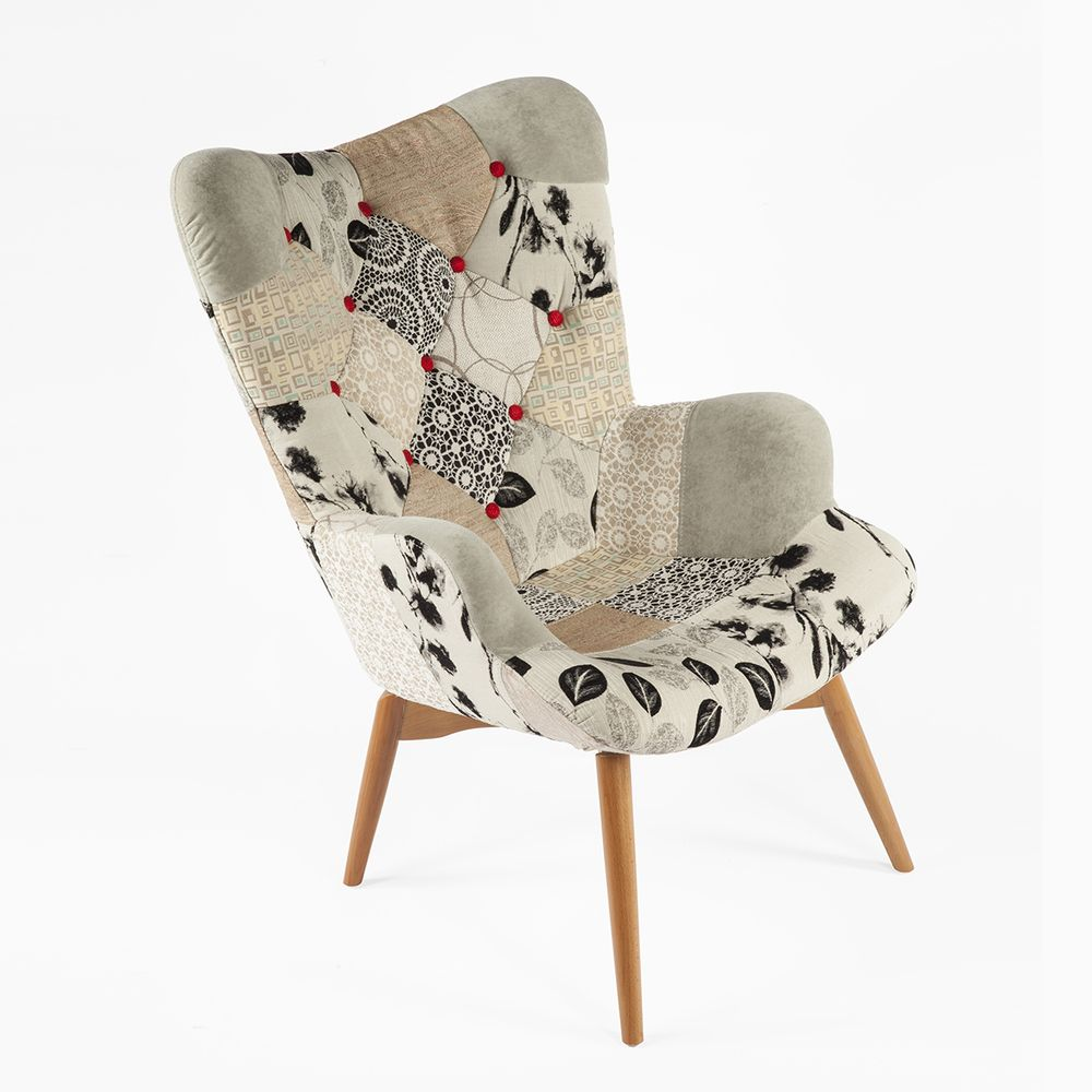 Mid century modern grant featherston replica contour lounge chair black and white patchwork