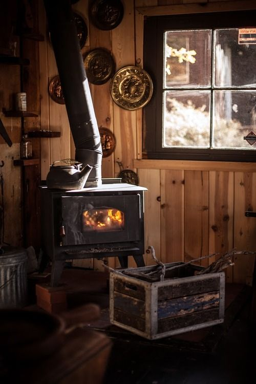wood burning fireplace. I like the little corner shelves