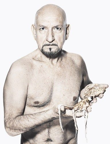 Naked Ben Kingsley Holding An Octopus