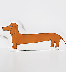 A daschund pillow - the perfect accent to any couch or bed or a unique soft toy for children of any age #pillow #fancyhuli #kids via Fancy HuLi | Designer Gift Shop for Animal Lovers | Dog Lovers