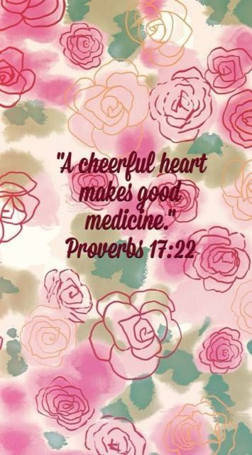 PROVERBS 17:22 - A cheerful heart is good medicine, but a crushed spirit dries up the bones. ~~ During difficult times, Put some Worship music on, Glorify the Father and watch your heaviness lift off of you!