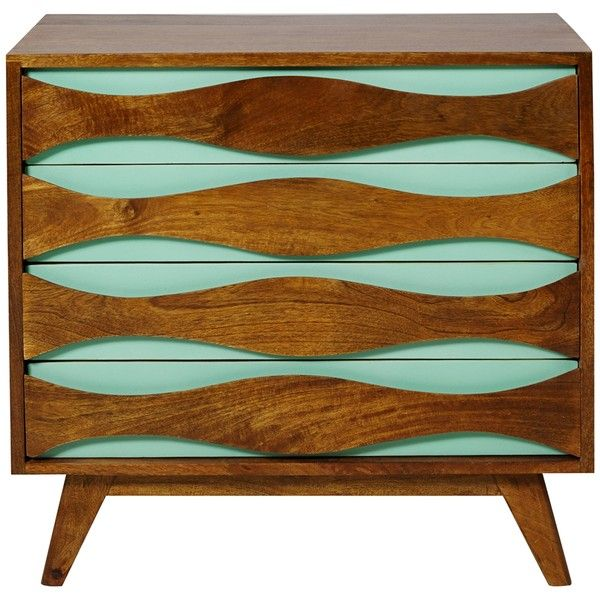 Wave Four Drawer Wood Chest ($360) ❤ liked on Polyvore featuring home, furniture, storage & shelves, dressers, dresser, cabinets, decor, handmade furniture, handcrafted furniture and lumber furniture