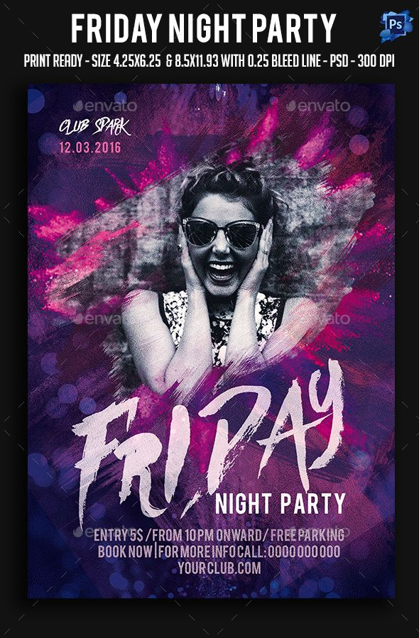 Friday Night Party Flyer Template PSD Flyer Templates Pinterest