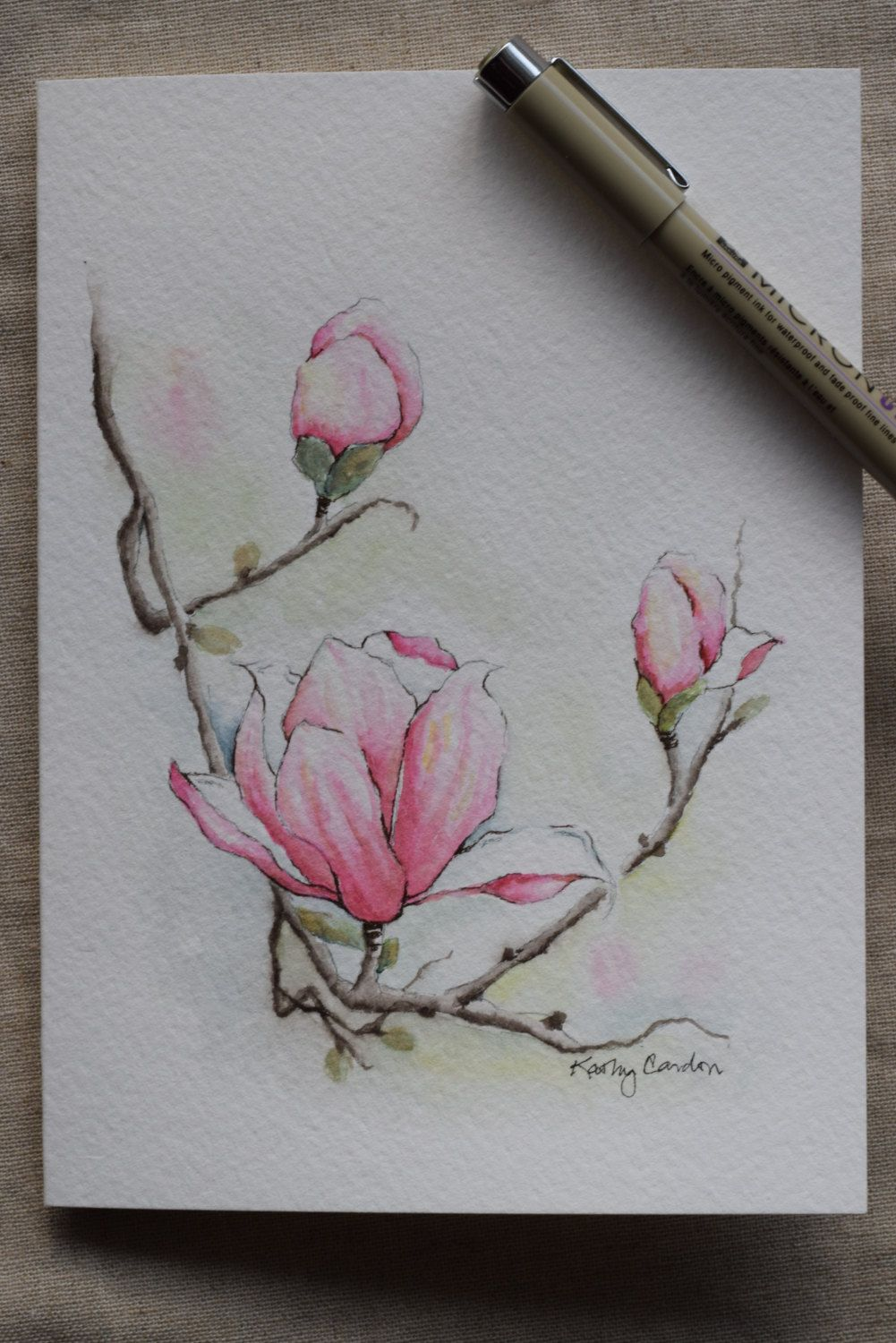 "Pretty magnolia with 3 blossoms! Prints-- This is a print from the original hand-painted watercolor greeting card on 140 lbs. acid free, Strathmore watercolor paper. All the cards are designed and painted by me. Dimension of the card is 5""x 6⅞ "". Matching envelope included. Prints are"