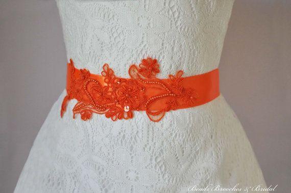 Lace Sash, Orange Sash, Wedding Sash, Bridal Sash, Wedding Belt, Autumn Wedding Belt, Brial Belt, Prom Sash, Bridal Sash
