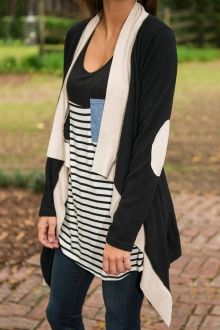 Long Sleeves Collarless Color Block Cardigan