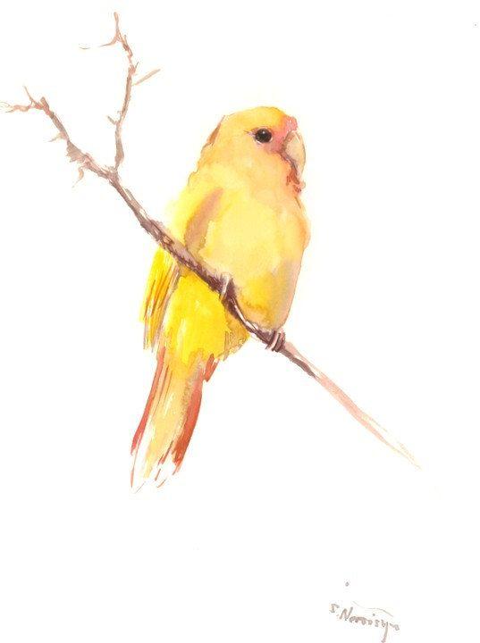 Lovebird Painting Yellow Bird Painting Original By Originalonly