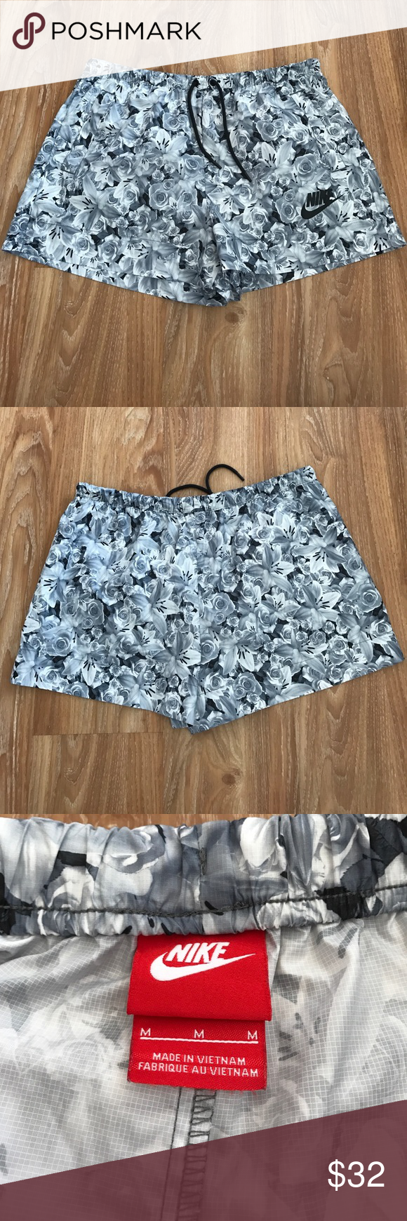 All Over Floral Print Casual Nike Shorts Euc All Over Gray Floral