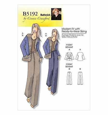 BUTTERICK WOMAN B5192 JACKET & PANTS, OUT-OF-PRINT SEWING PATTERN SIZES: Xxl-1X-2X-3X-4X-5X-6X by CONNIE CRAWFORD, http://www.amazon.com/dp/B005DWSRGY/ref=cm_sw_r_pi_awd_C.Qzsb0WZTQA4