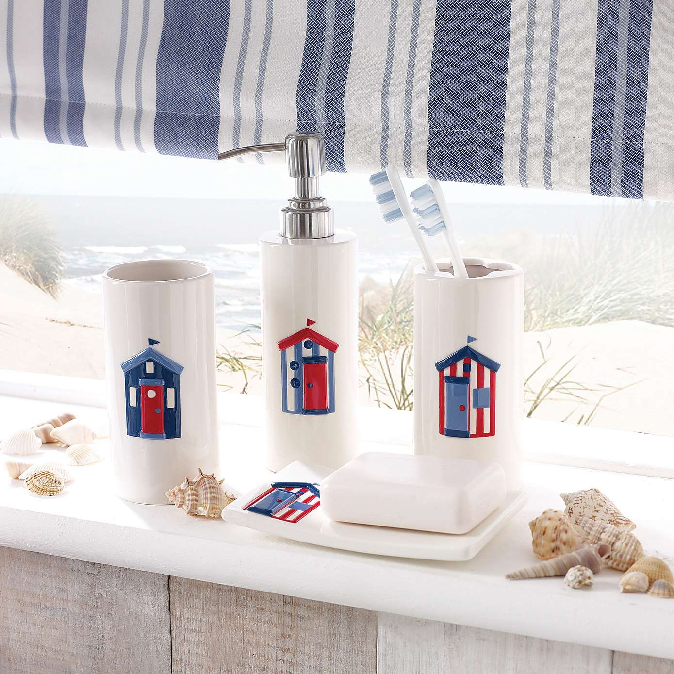 Beach Hut Bathroom Collection Dunelm In 2020 Beach Hut Bathroom Bathroom Collections Nautical Bathrooms