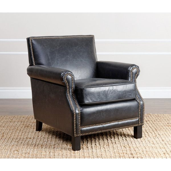 327 abbyson living chloe antique black leather club chair