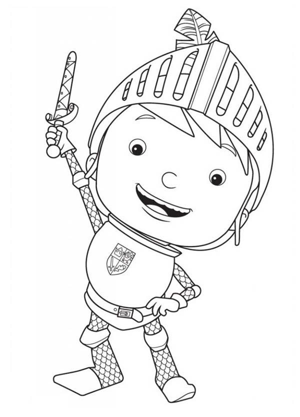 Mike the Knight, : Mike the Knight Rise His Sword Coloring Page ...
