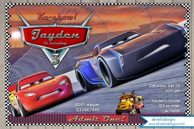 Disney Cars 3 Personalized Birthday Invitation