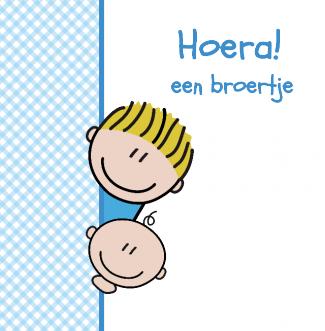 Geboortekaartje Hoera Een Broertje Broertje Broertje Blauw