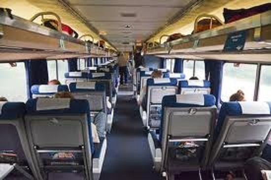 Interior Of A Superliner Car With Coach Seating On Amtrak