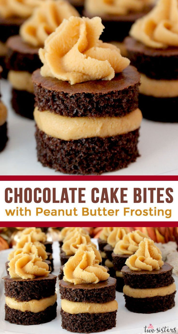 Chocolate Cake Bites with Peanut Butter Frosting - Two Sisters