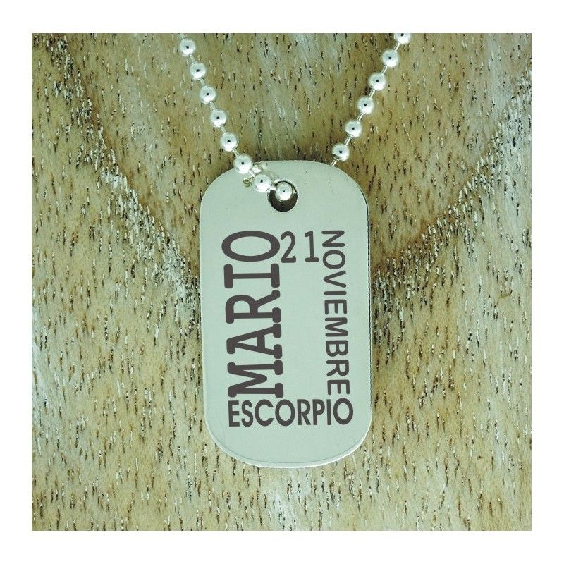e818cbf70292 Colgante chico ONEILL. Placa militar plata grabada personalizada datos  personales