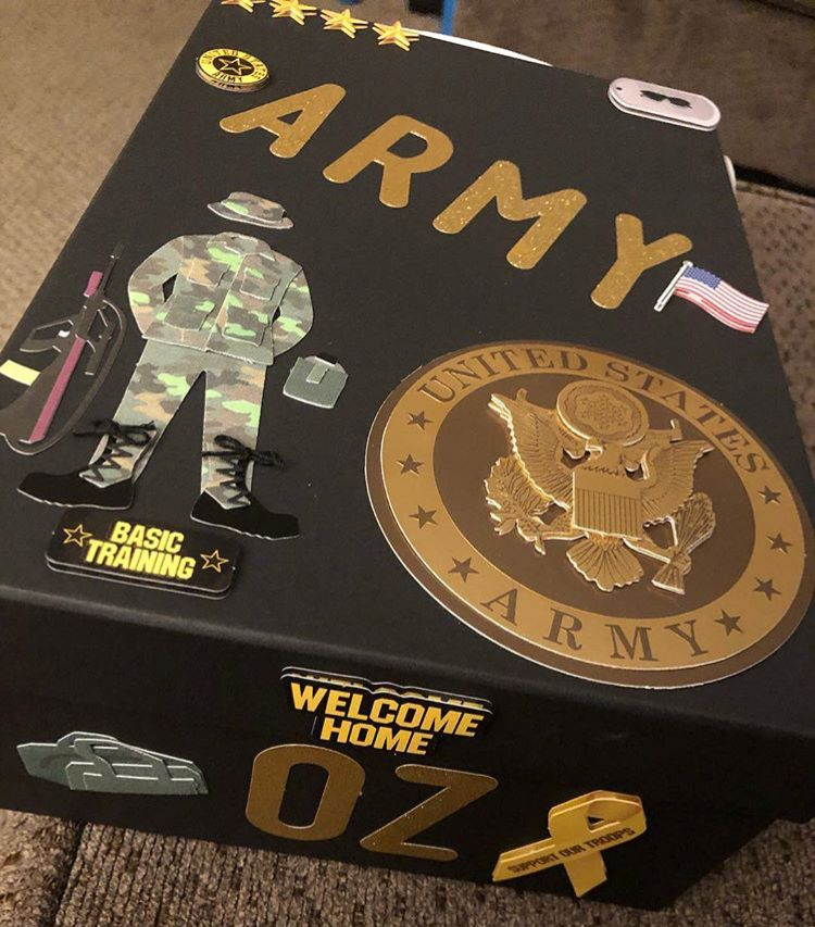 Army memory box BoxMichael's Gold lettersMichael's Army