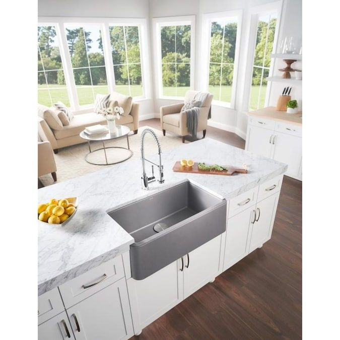 Blanco Ikon Farmhouse Apron Front 30 In X 19 In Biscuit Off White Single Bowl Kitchen Sink Lowes Com In 2021 Farmhouse Sink Kitchen Single Bowl Kitchen Sink Kitchen Concepts