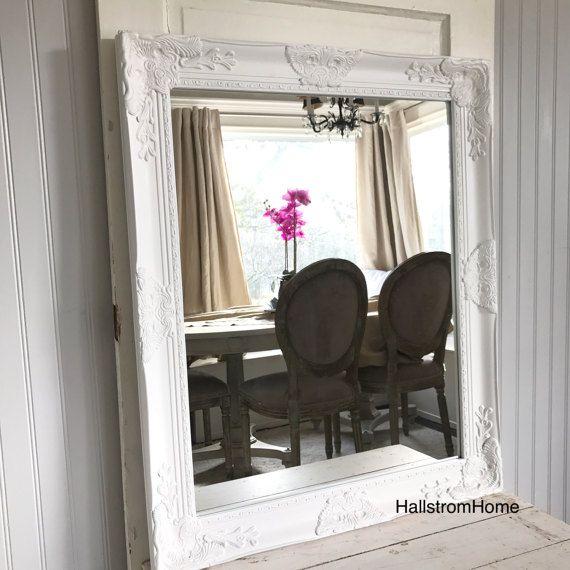 White Bathroom Mirror Shabby Chic Vanity Mirror Baroque Mirror Wall Mirror  Extra large Decorative French Ornate