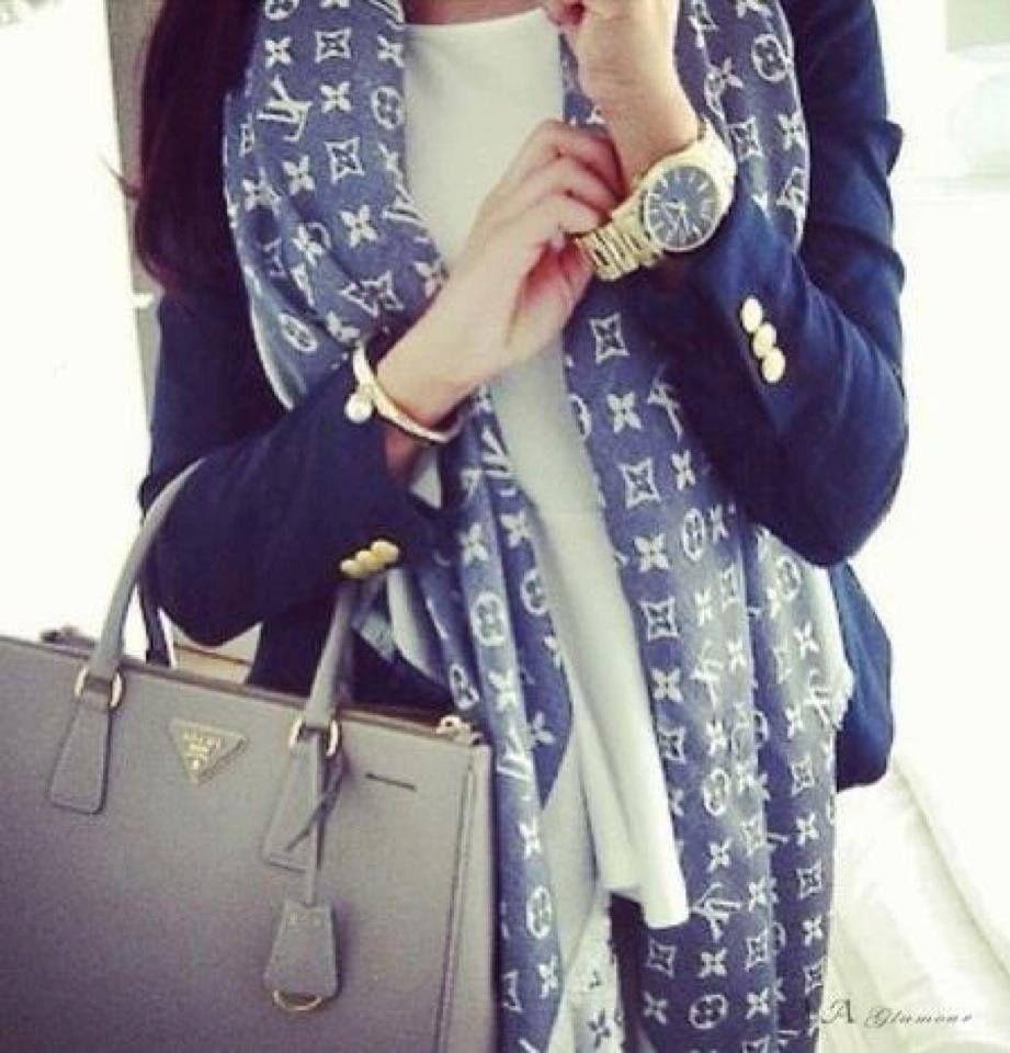 LV scarf + prada bag