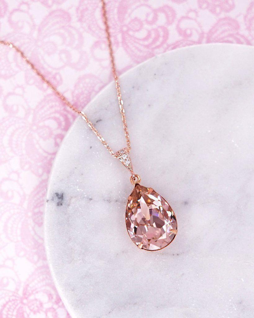 Vintage rose teardrop crystal necklace swarovski crystal jewelry