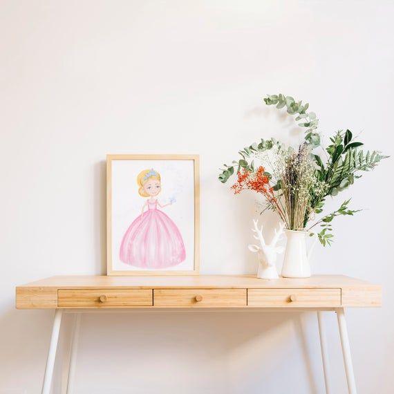Princess dressed in pink ball gown, pink dress and tiara, crown: printable princess clipart / princess print / wall art / poster