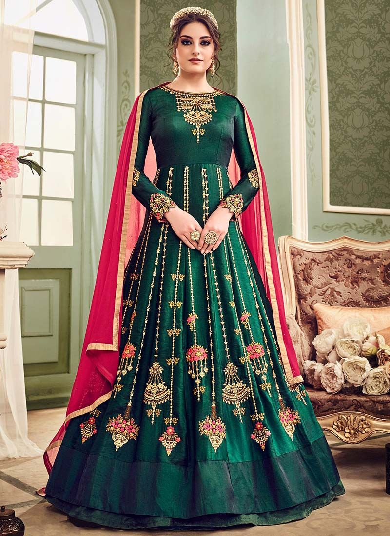 787de67e1b Buy Dark Green Abaya Style Anarkali Suit online, SKU Code: SLSCC7015. This  Green color Party anarkali suit for Women comes with Embroidered Art Silk.