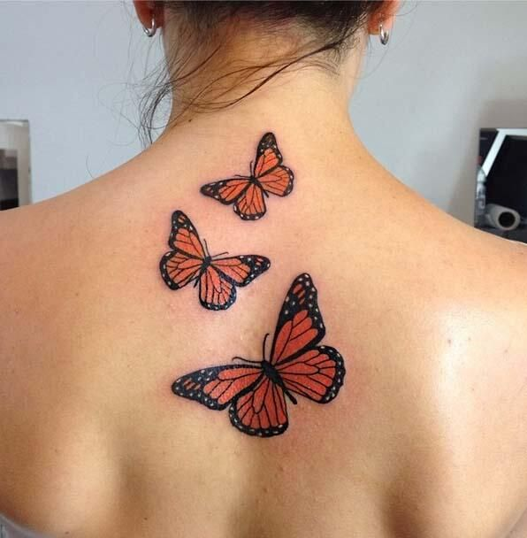 Three Watercolor Flying Butterflies Tattoos On Back ...