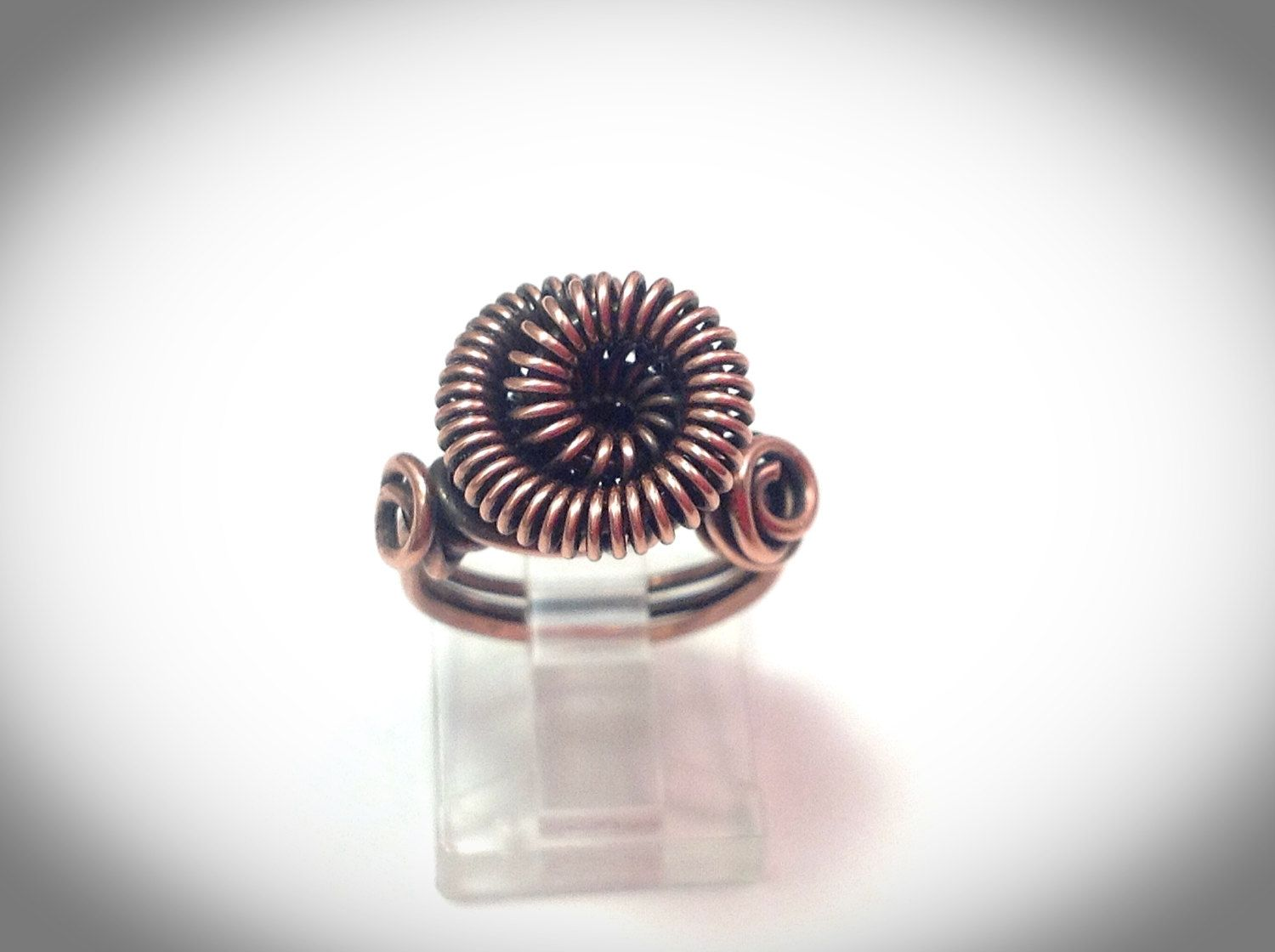 "Wire wrapped copper coil ""Tesla"" ring by JCLwire on Etsy"