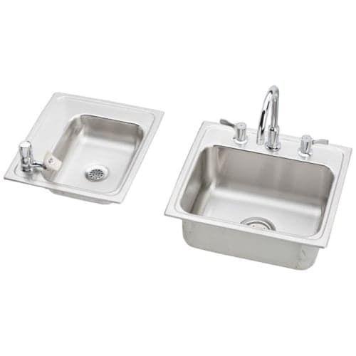 Elkay Drkr23417lc 34 Double Basin Drop In Stainless Steel Utility