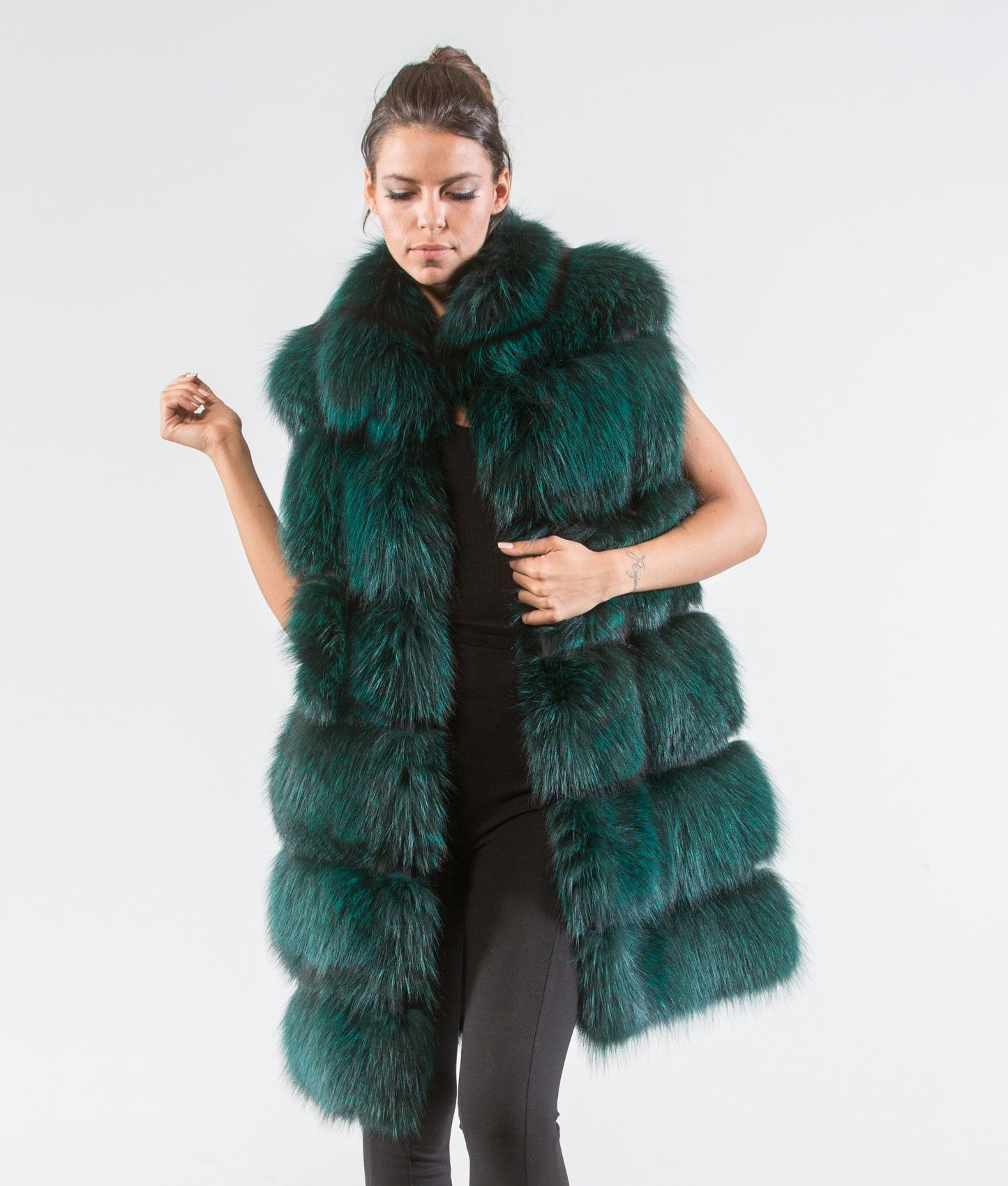 9853f1872 Forest Green Fox Fur Vest #green #fox #fur #vest #realfur #haute #style  #fashion