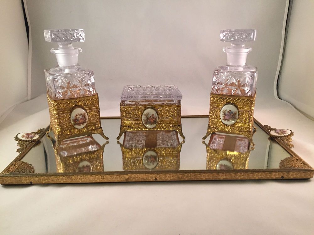 Vintage Ormolu Gold Filigree Vanity Tray set Perfume Bottles Trinket Box  Mirror - Vintage Ormolu Gold Filigree Vanity Tray Set Perfume Bottles