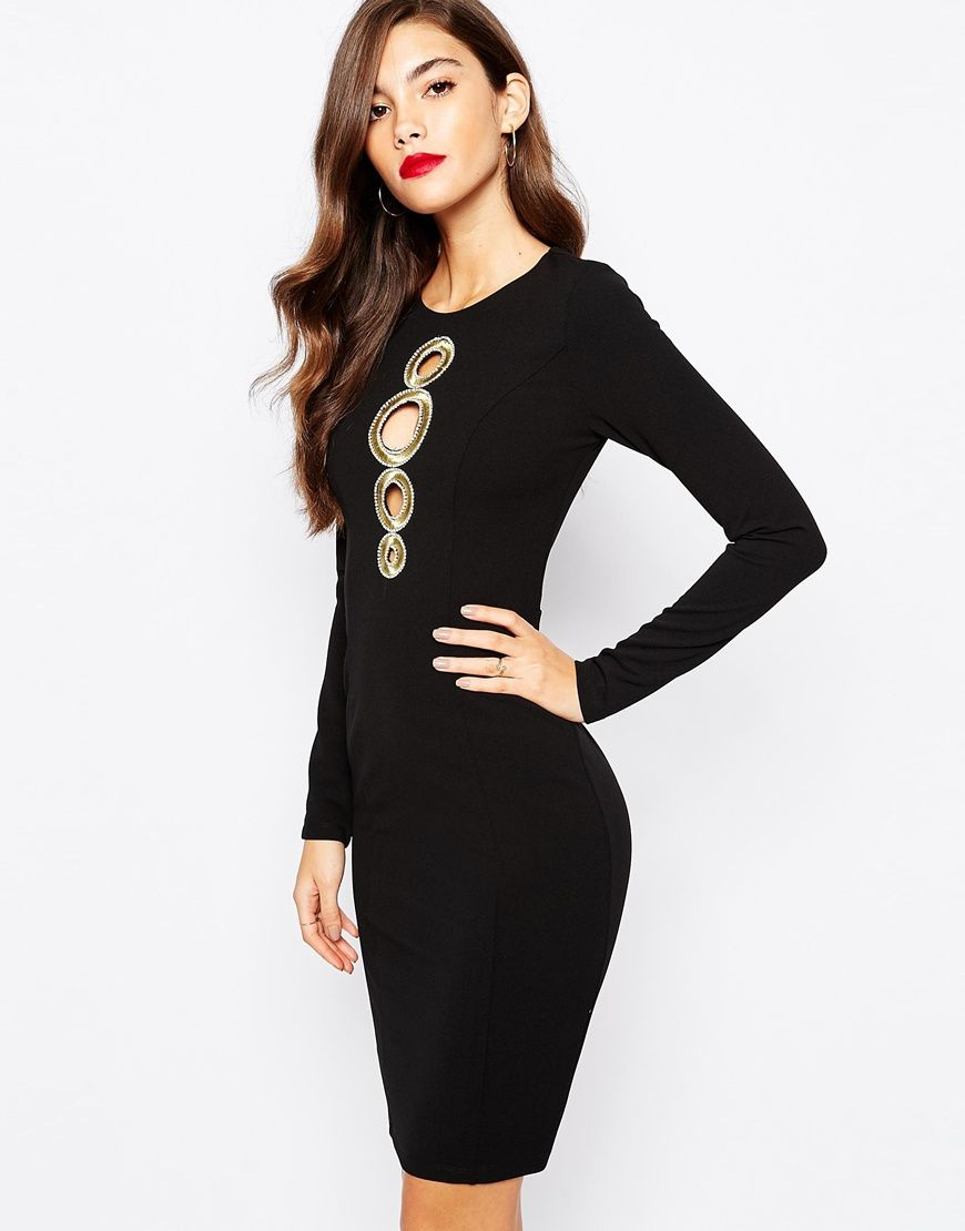 Forever unique bodycon dress with gold detail at front paris