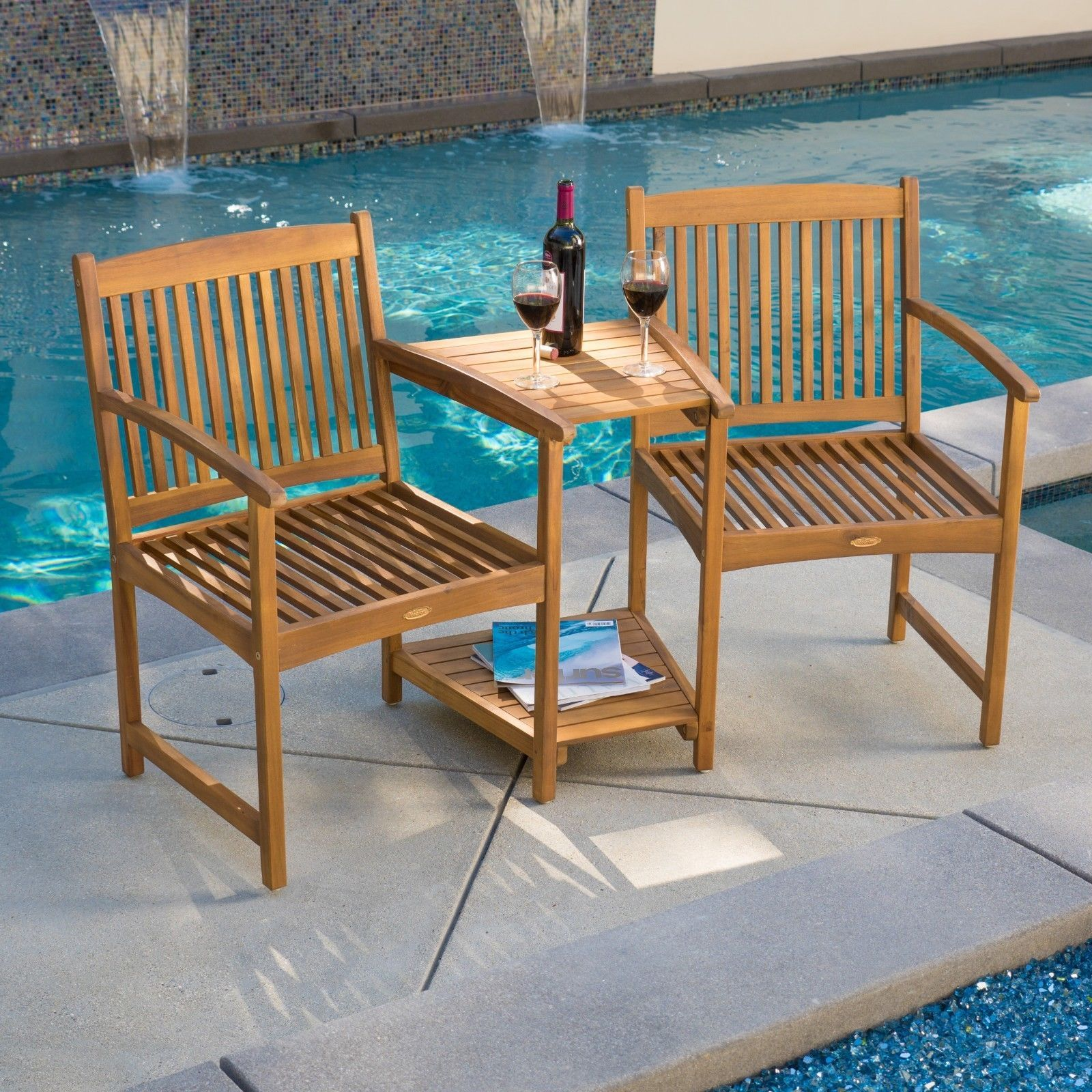 Outdoor Patio Furniture Adjoining Chairs & Table Two ...